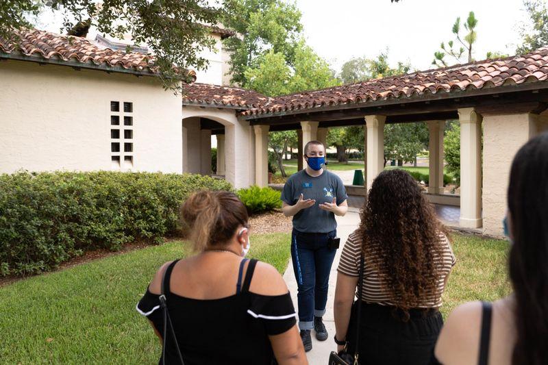 A campus tour in progress.