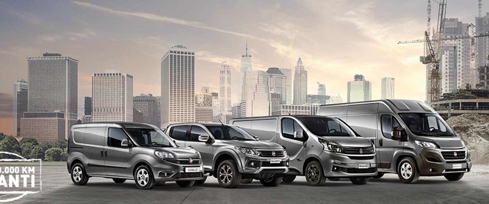 Illustrasjonsbilde av fire varebiler fra Fiat Professional