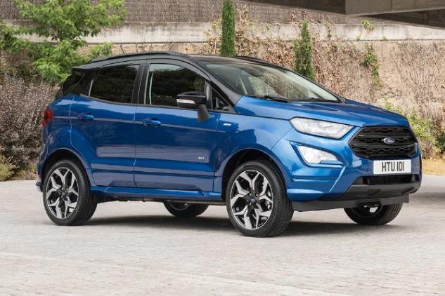 Bilde av en Ford EcoSport, som er en kompakt SUV.