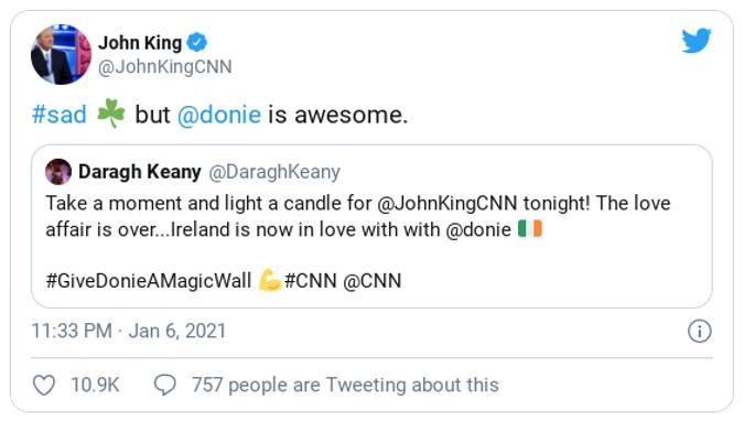 John King says Donie is awesome