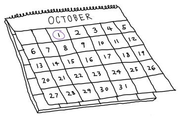October calendar with 1st circled
