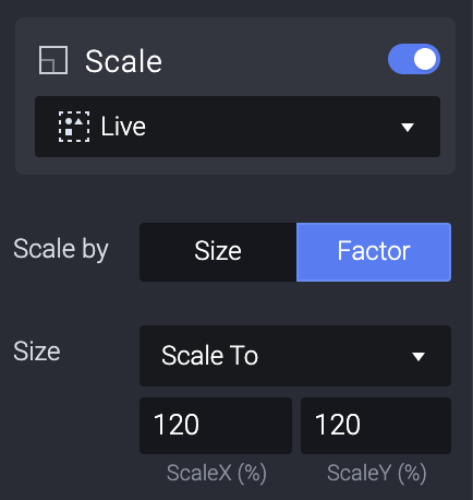 Set the value to factor to 120%