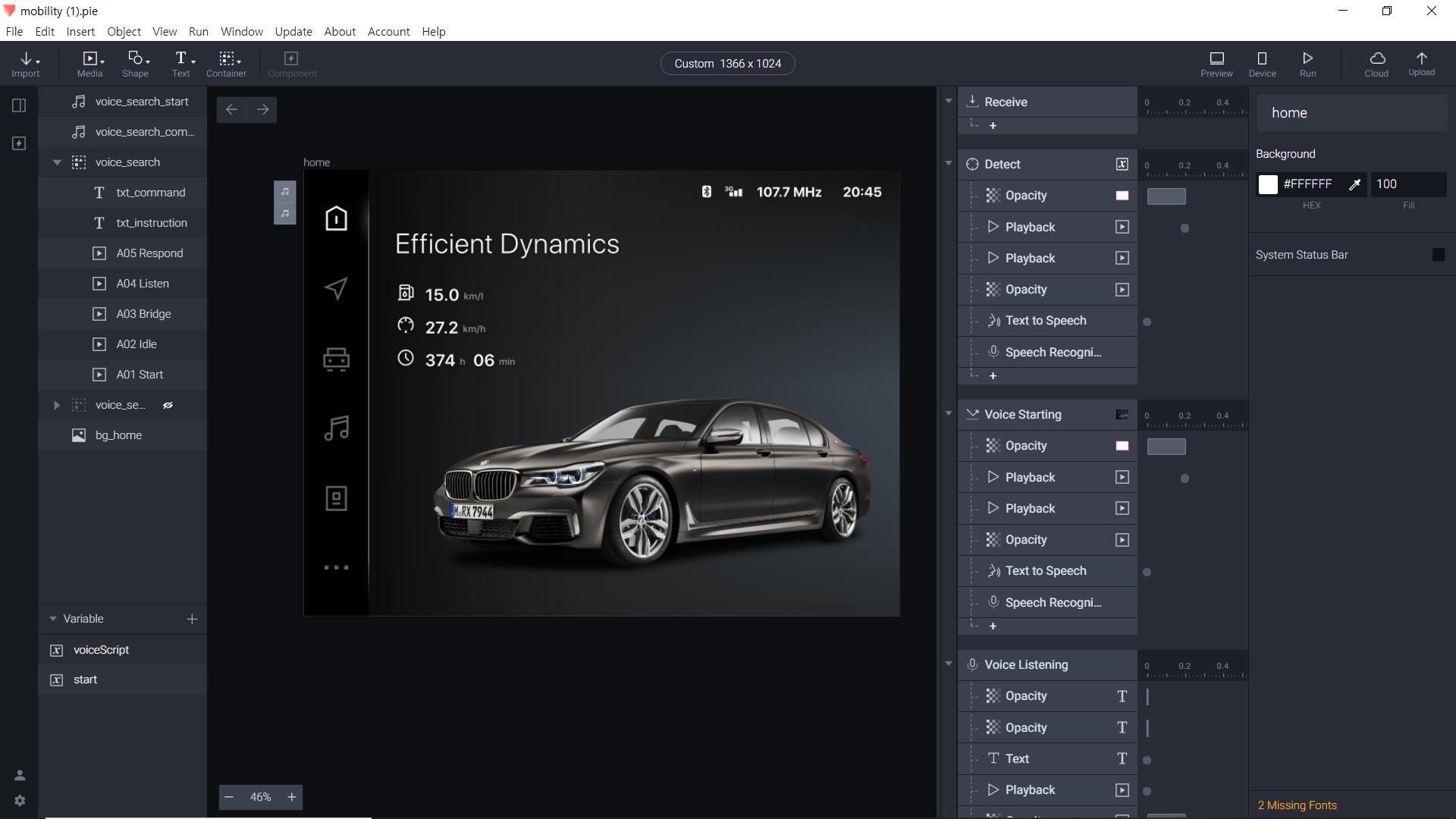 in-car voice prototype on ProtoPie