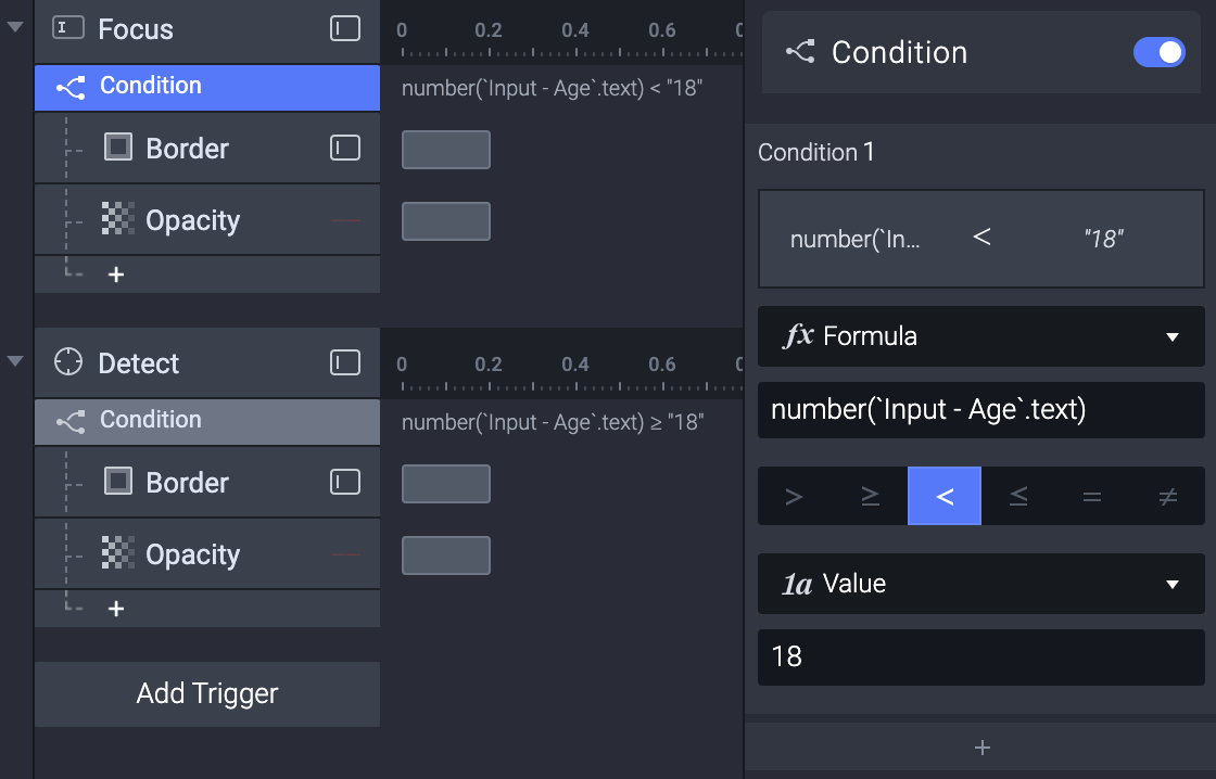 Triggers and responses needed for making a value validation