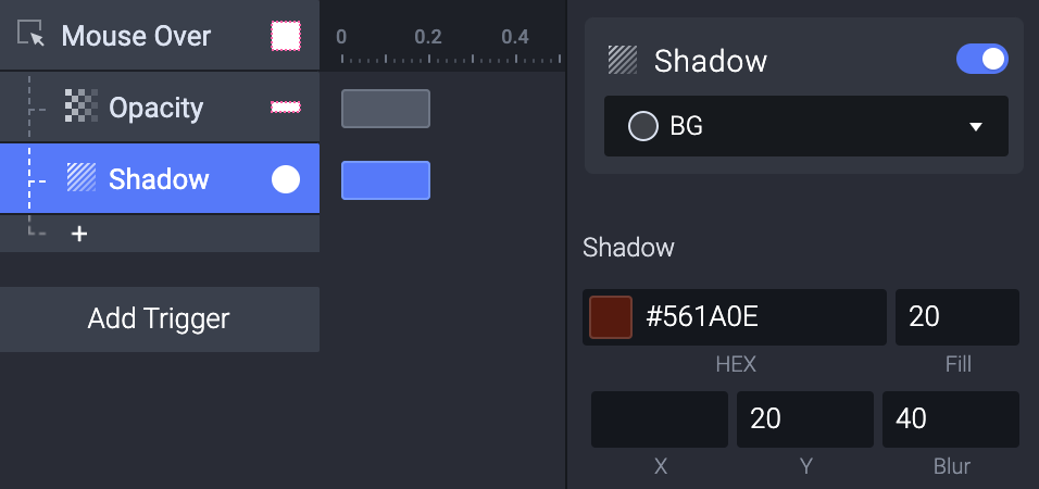 Add a Shadow response to the Mouse Over trigger