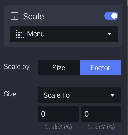 Attach a Scale response to 0 to the Menu