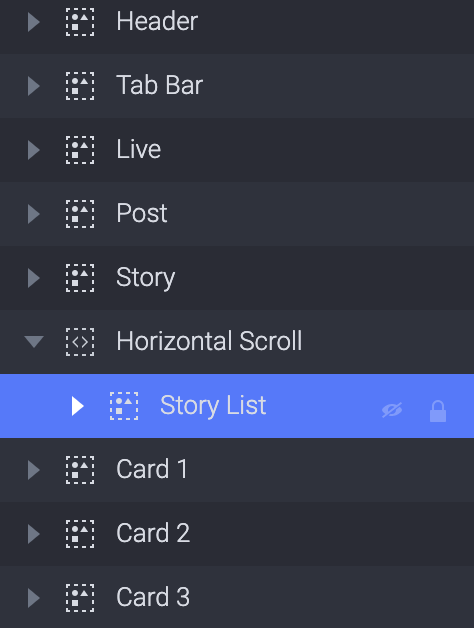 Drag the Story List layer into the container