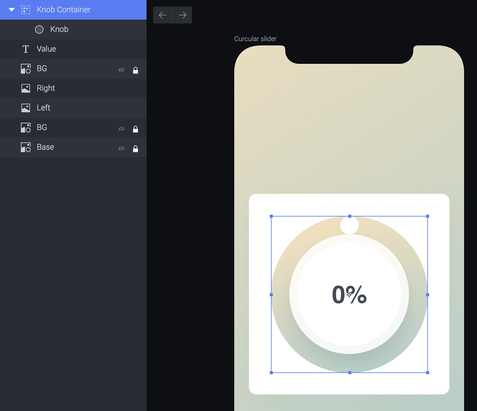 Create a container the same size as the radial dial