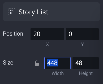 Change the width of the Story List layer (inside the Horizontal Scroll layer) from 432 to 448.
