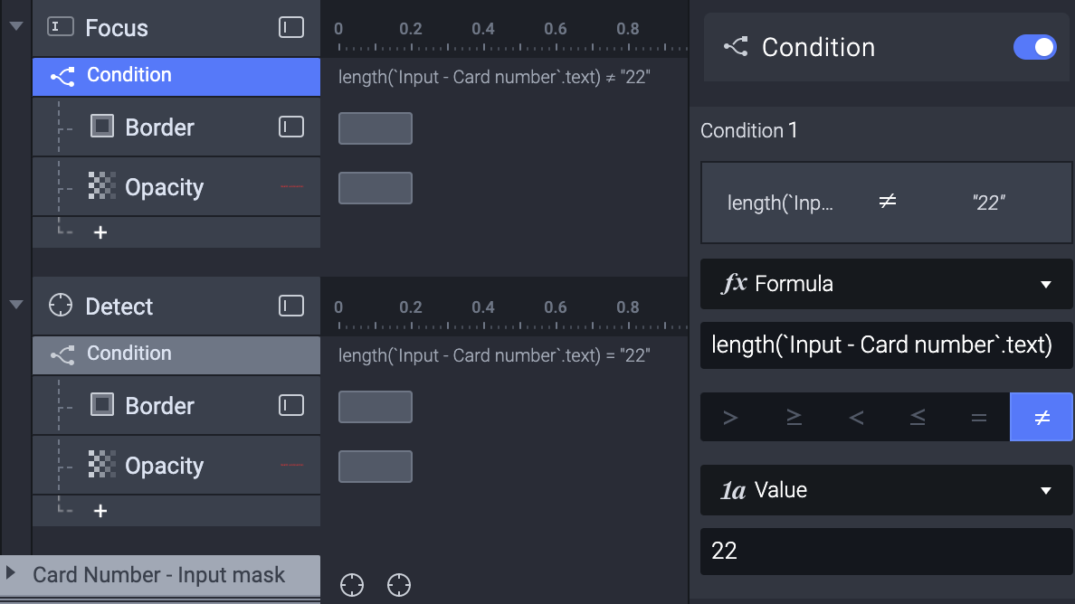 Triggers and responses needed for making a length validation