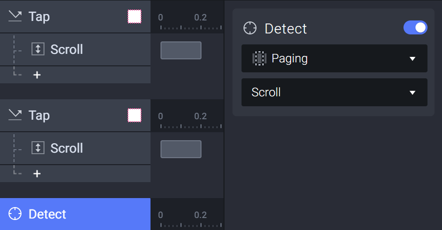 Add a detect trigger to the paging container