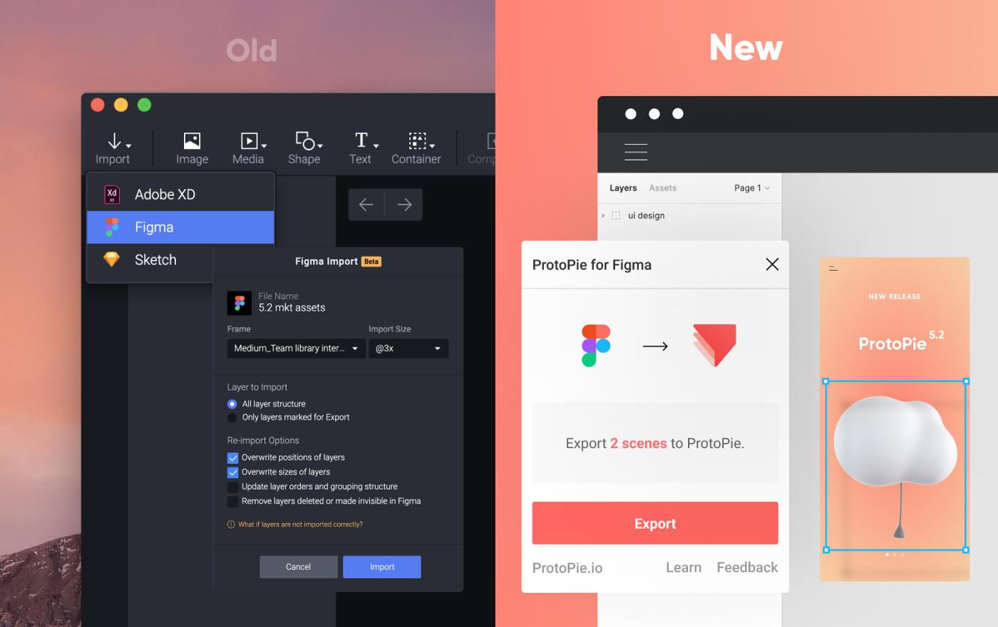 legacy Figma import vs new