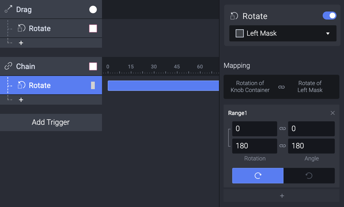 Select the Left Mask and add a rotate. Type in the values so all they go from 0 to 180.