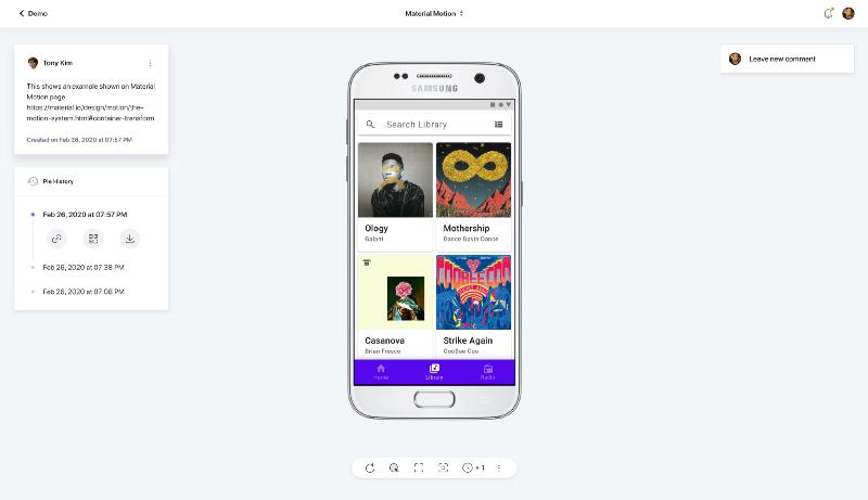 Mobile prototype uploaded on ProtoPie cloud
