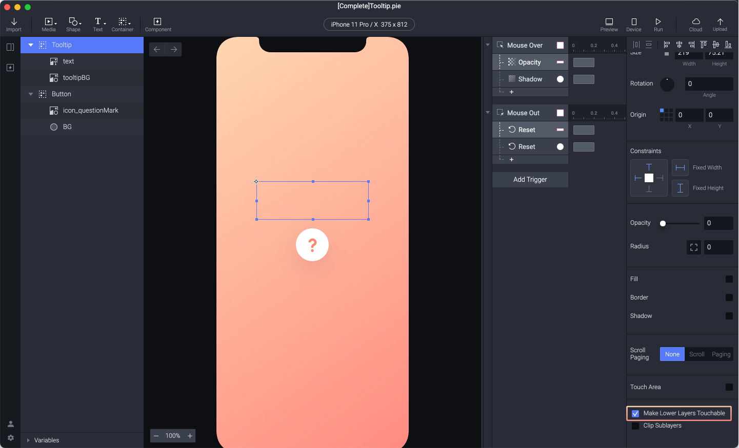 Check the Make Lower Layers Touchable option