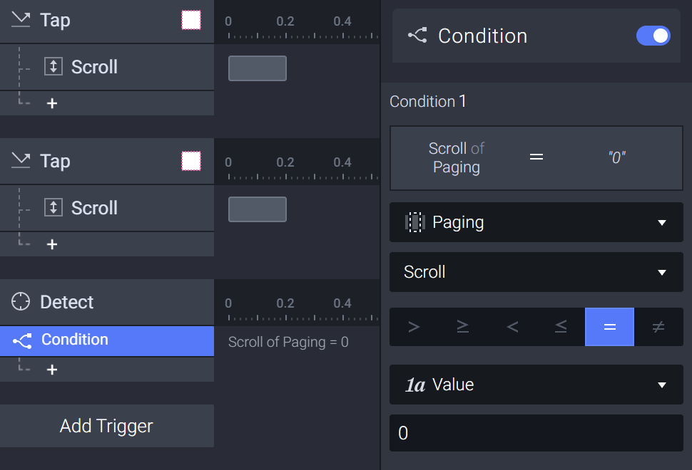 """Add a condition when the paging container's scroll value is """"0"""""""