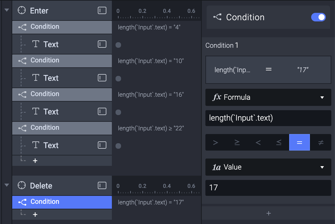 """Photo showing the creation of the 17 character length condition for the """"Input"""" text layer."""