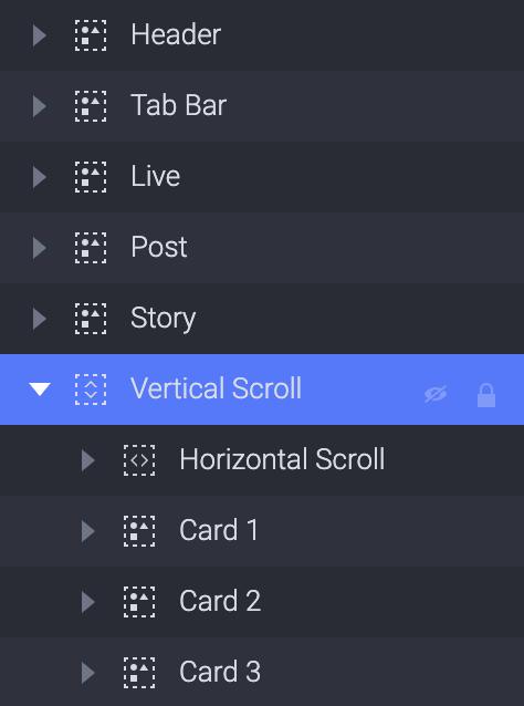 Drag Horizontal Scroll, Card1, Card2, Card3 into the Vertical Scroll