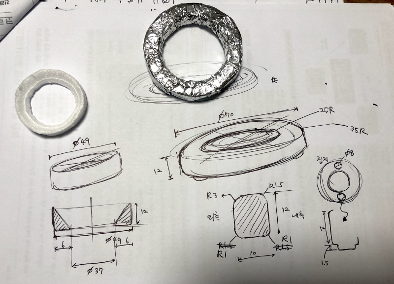 Handrawn blueprint of a loupe