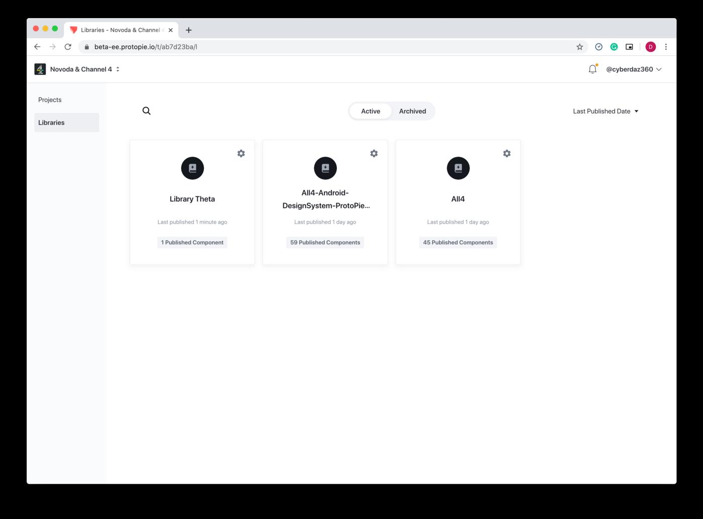 Libraries in ProtoPie Cloud