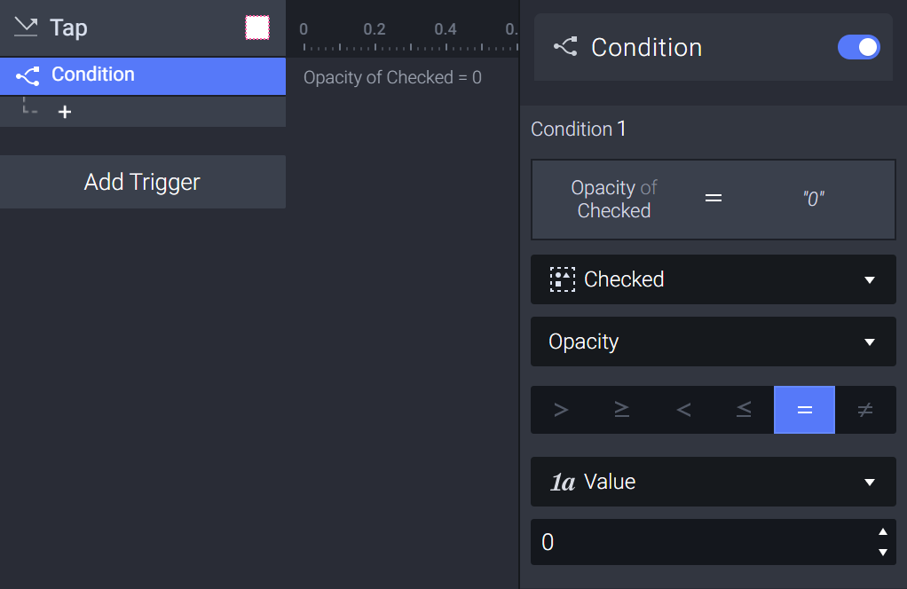 Add a condition and set the checked item's opacity to 0