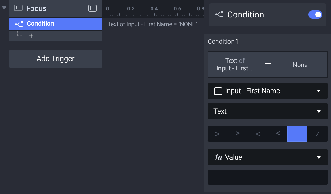 Add a Condition to the input layer Input - First Name