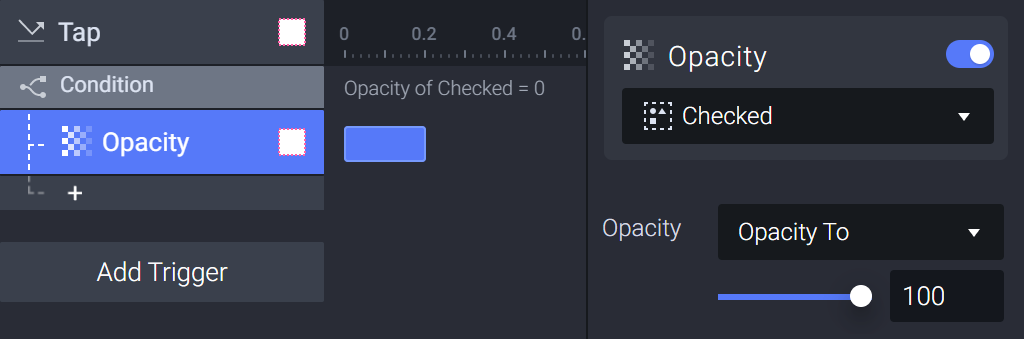 Use an opacity response and set its opacity value to 100