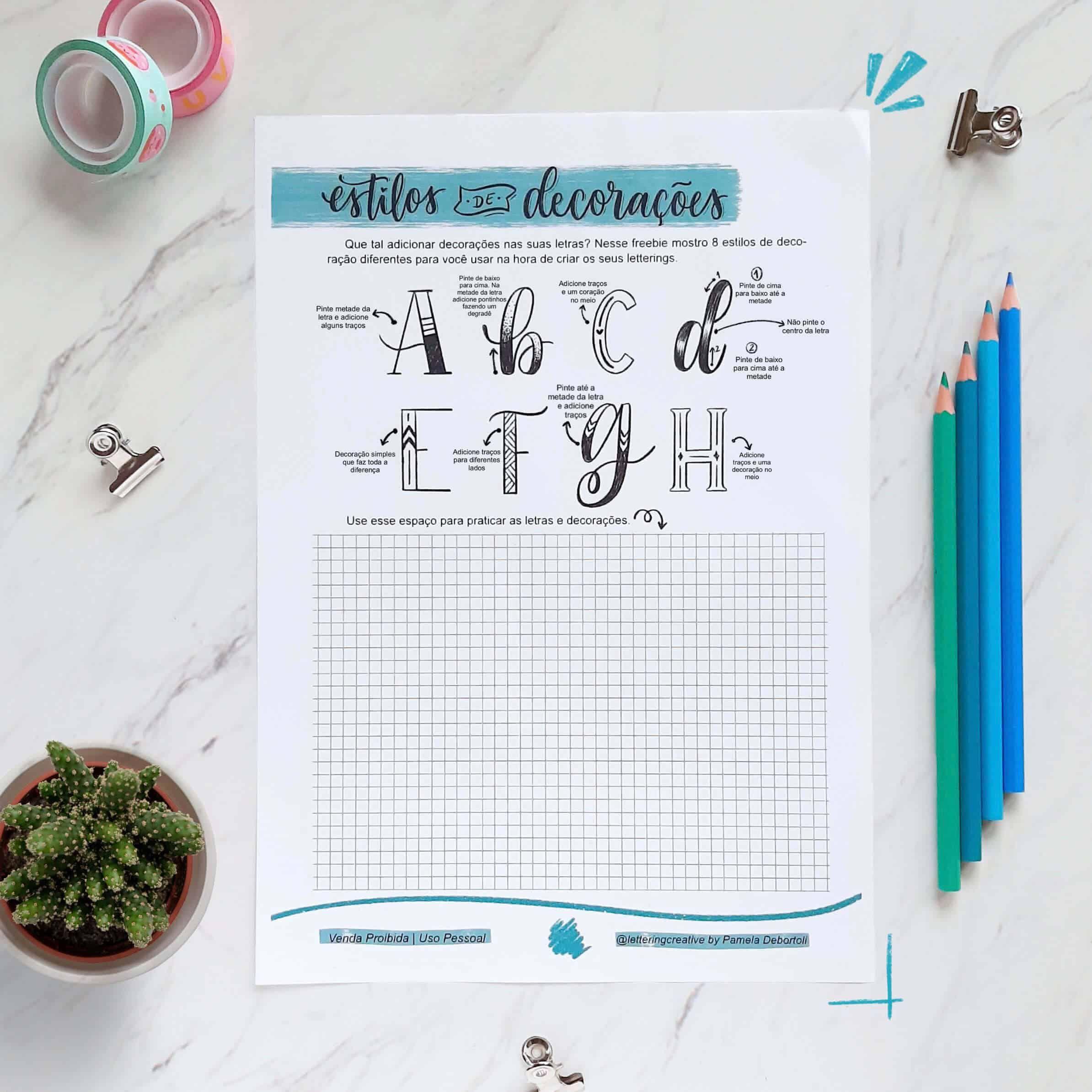 Decorações para suas Letras