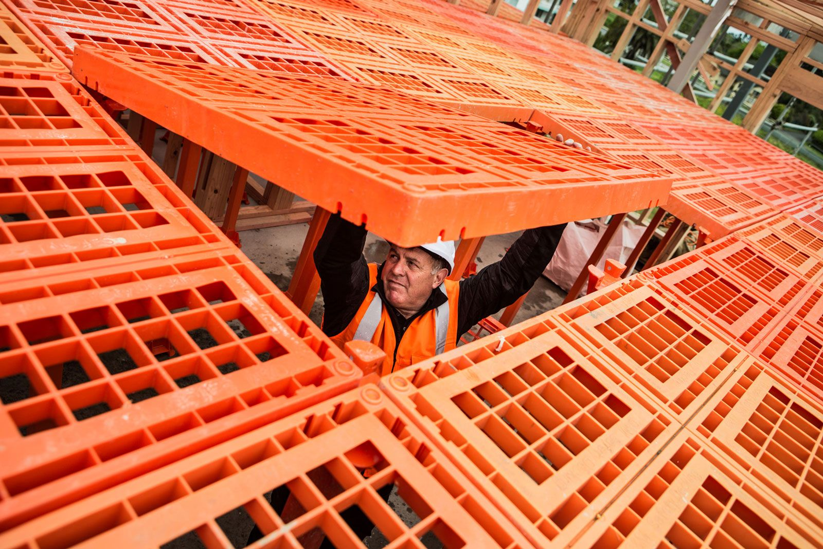 Builder installing workdek