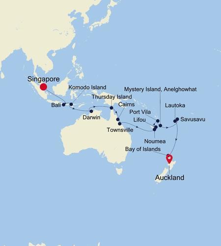 Singapore to Auckland