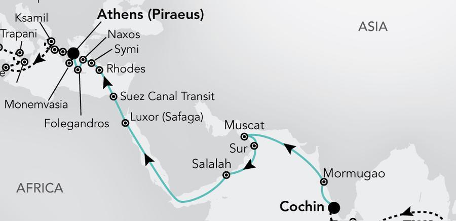 Cochin nach Athens (Piraeus)
