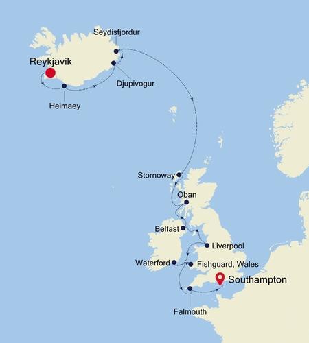 Reykjavik nach Southampton
