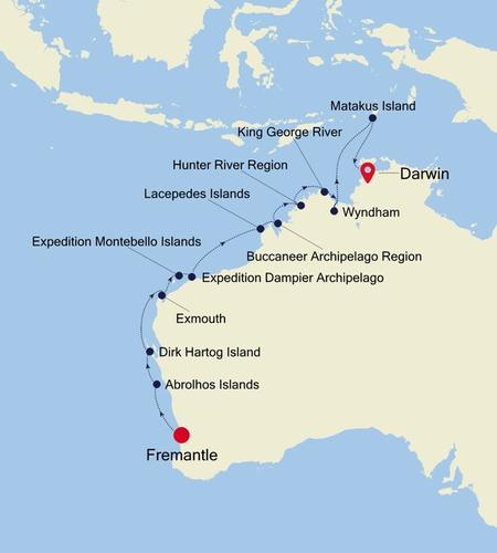 Fremantle (Perth), Western Australia to Darwin