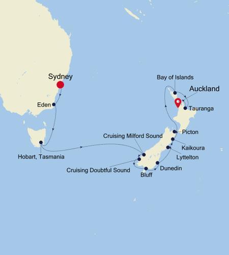 Sydney a Auckland