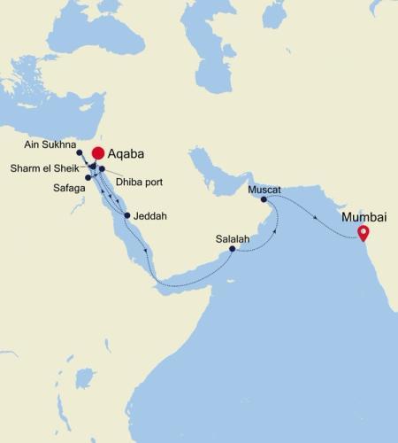 Aqaba (Petra) to Mumbai