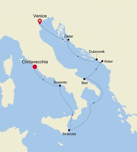 Civitavecchia (Rome) to Venice