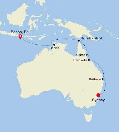Sydney nach Benoa, Bali