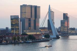 De Erasmusbrug en de gebouwen eromheen