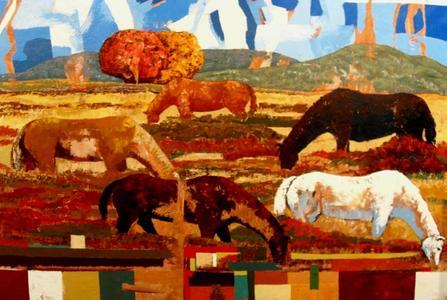 Five Horses in Pasture