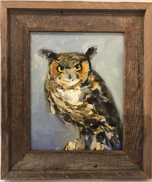 Horned Owl on Blue
