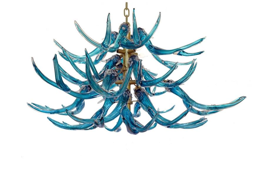 Glass Antler Chandelier, Turquoise