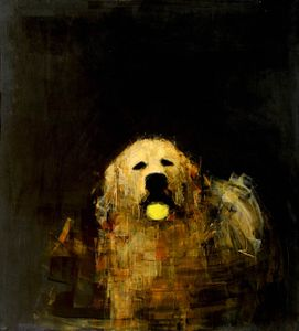 Golden Dog with Ball