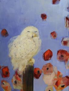 Snowy Owl (Daydreaming with Red Poppies)
