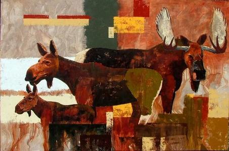Bull, Cow, Calf Moose
