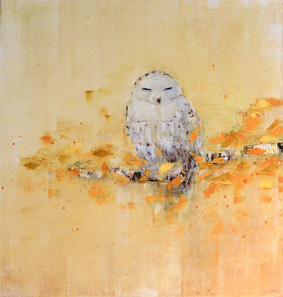 Snowy Owl Dreaming in Gold No. 2