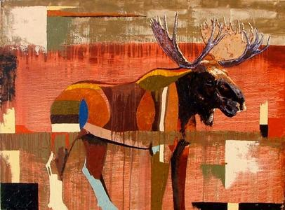 Moose with Red and Green