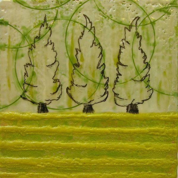 Family of Trees in Spring Fog