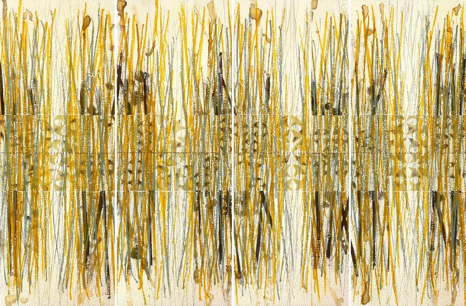 Grass and Weaving 1-4, Paper and Ink Series
