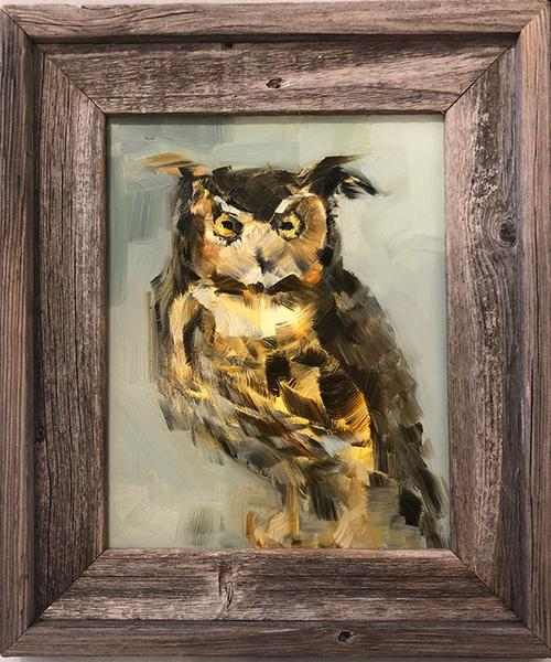 Horned Owl on Green