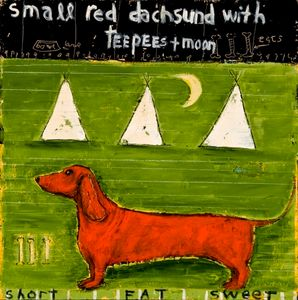Small Red Dachsund with Teepes and Moon